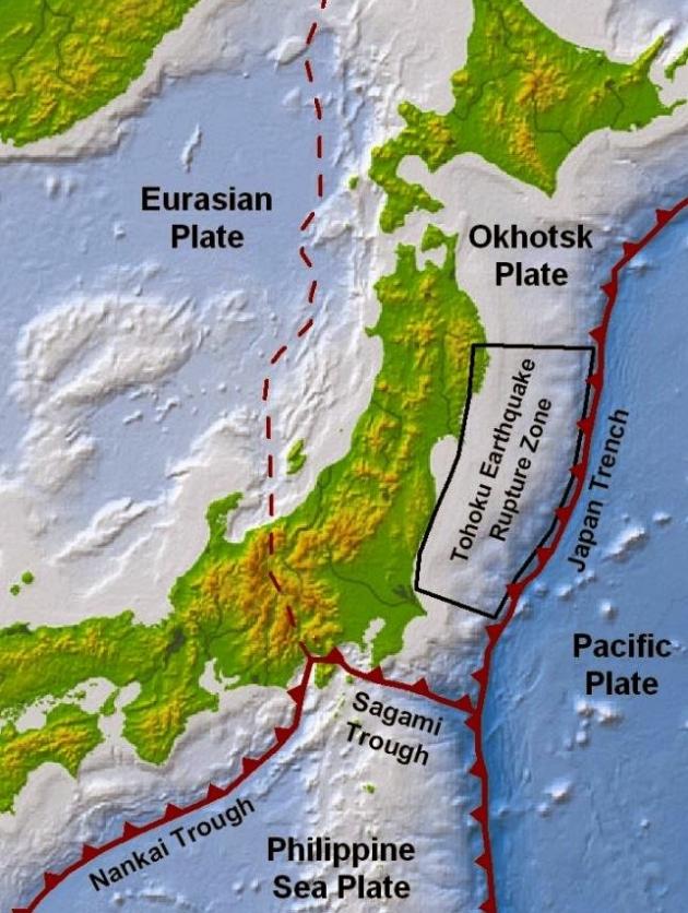 Động đất tại Nhật Bản gây nên do vị trí địa lý của quốc gia này