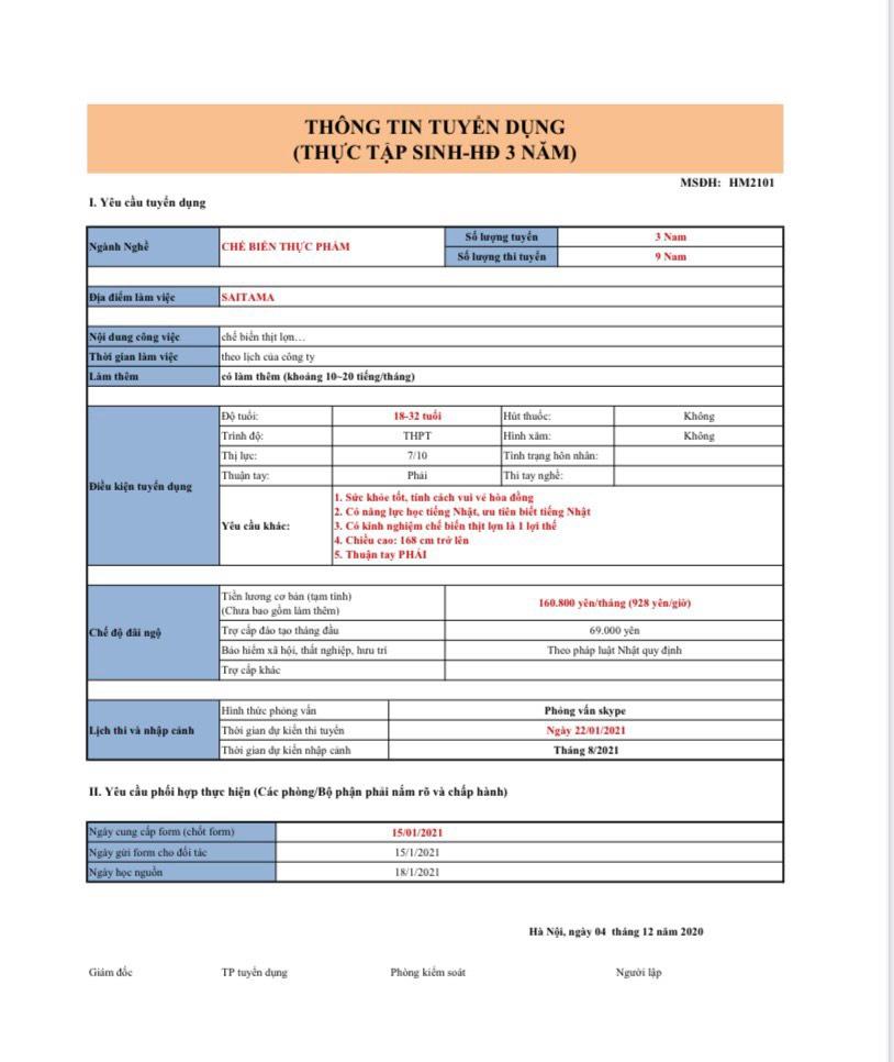 File chi tiết đơn hàng XKLĐ Nhật Bản